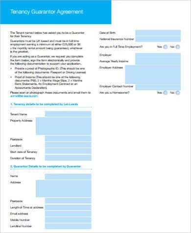 tenancy guarantor agreement