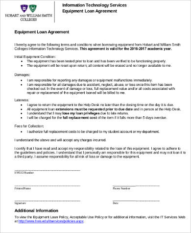 8 sample loan agreement free sample example format download simple equipment loan agreement platinumwayz
