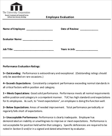 employee evaluation performance review