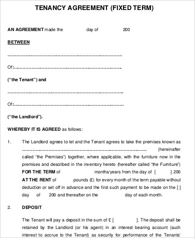 Sample Tenancy Agreement 16 Examples In Word Pdf