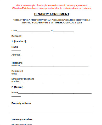 tenancy agreement sample