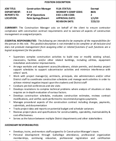 Construction Manager Job Description Sample   Examples In Word Pdf