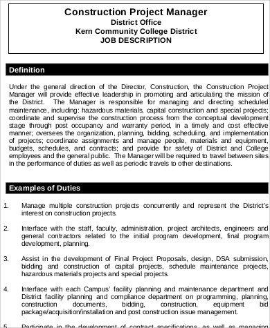 Construction Manager Job Description Sample - 7+ Examples In Word, Pdf