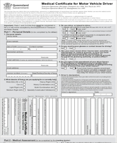 medical certificate for motor vehicle driver sample