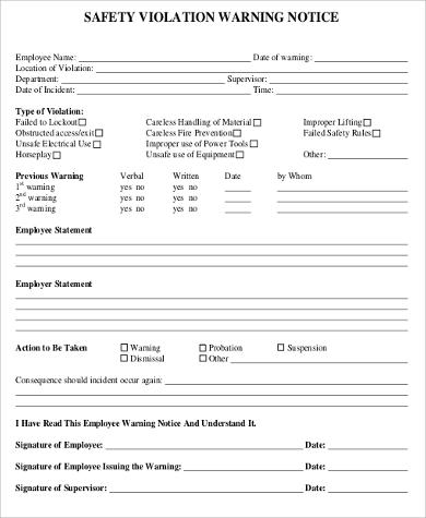 Sample Employee Warning Form - 9+ Examples In Word, Pdf