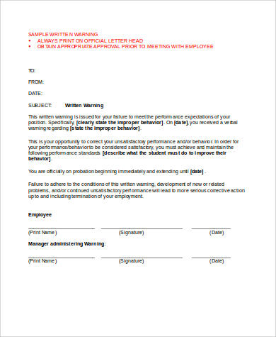 Sample Employee Warning Form 9 Examples In Word Pdf