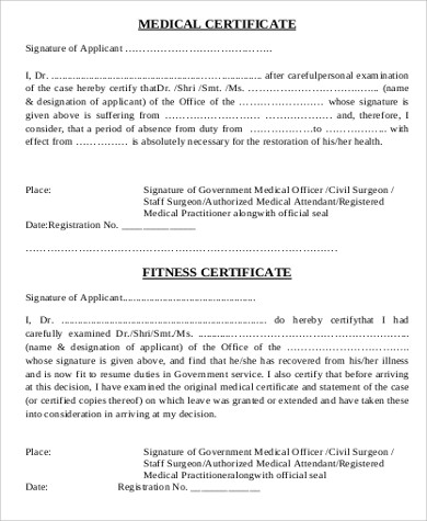 Sample medical certification form 6 examples in word pdf medical fitness certificate sample yadclub Images