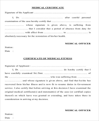 Sample Medical Certification Form   Examples In Word Pdf