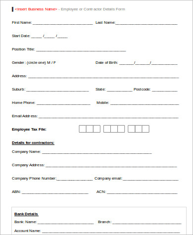 Employee Record Form  WowcircleTk