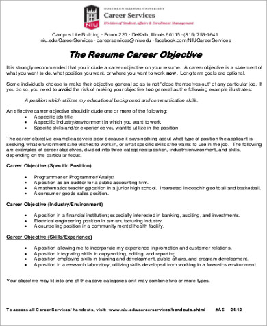 resume templates objective sample - Job Objective For Resume