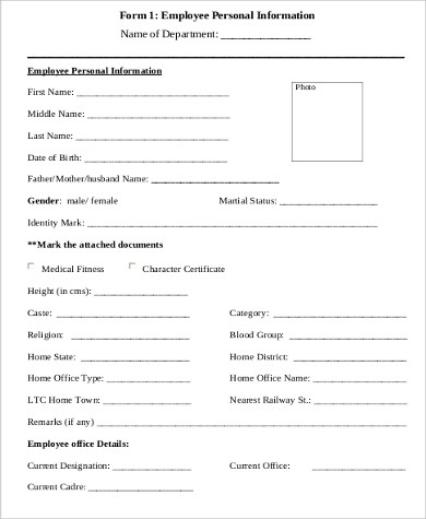 Sample Employee Details Form   Examples In Word Pdf