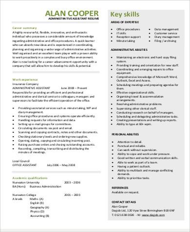 administrative assistant job objective pdf