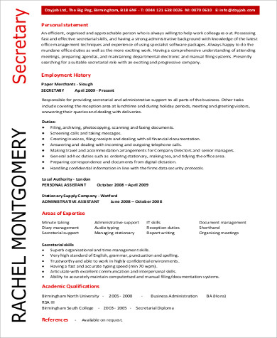 secretary job objective example pdf