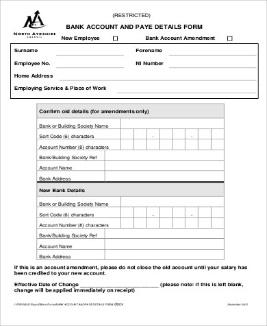 employee bank details form
