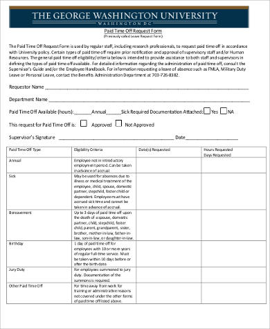request for paid time off form pdf