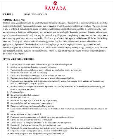 front desk job objective sample pdf
