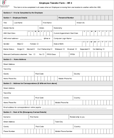 Sample HR Employee Transfer Form
