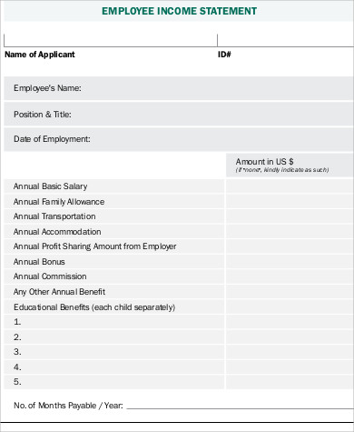 employee income statement form