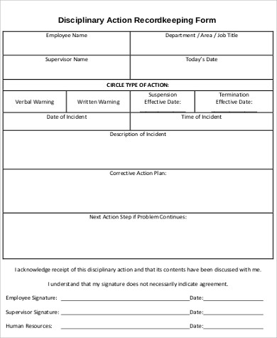 Disciplinary Action Form Employee Disciplinary Action Form Template
