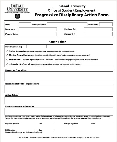 Sample Employee Disciplinary Action Form   Examples In Word Pdf