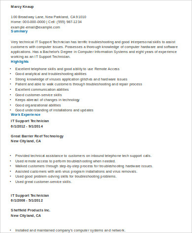 it technical resume format