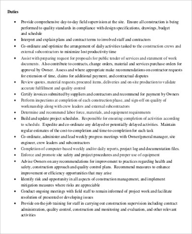 Construction Management Job Description Sample - 8+ Examples In