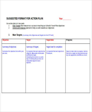 free blank action plan format