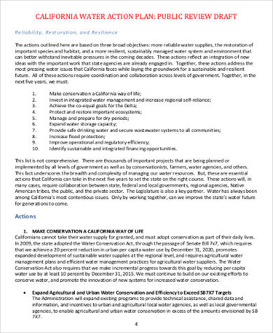 draft water action plan