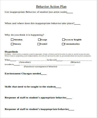 free behavior action plan doc