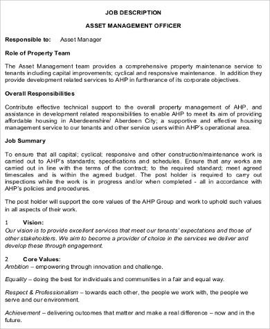 construction asset management job description format