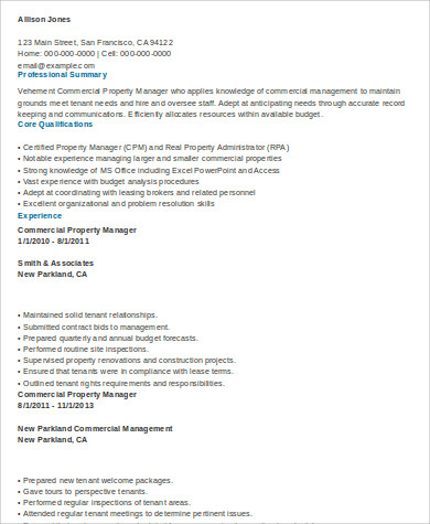 Commercial Property Management Resume