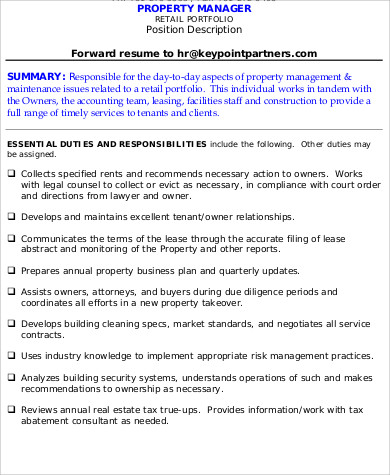 Sample Property Management Resume   Examples In Word Pdf