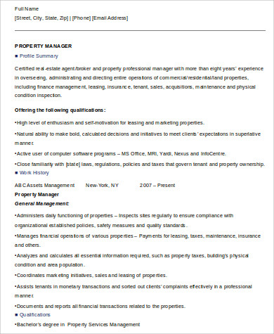 Property Management Job Summary Resume Format  Management Resumes