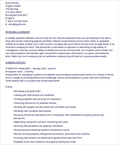 Property Management Resume Summary Free Templates Download Entry Brefash  Sample Resume Resume Template Property Management Cover