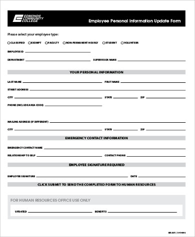 Sample Employee Update Form - 9+ Examples In Word, Pdf