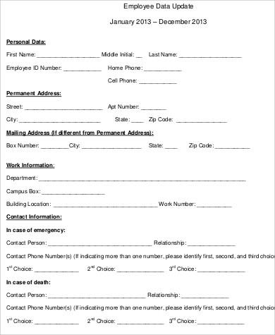 employee data update form