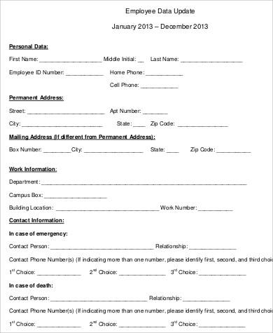 employee contact update form