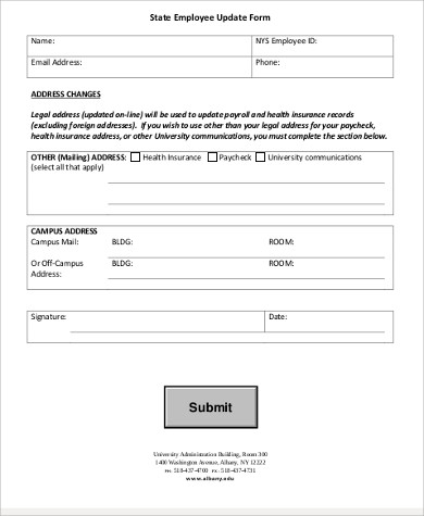 employee update form example