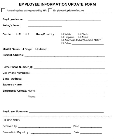 Employee Update Form  Employee Information Form Sample