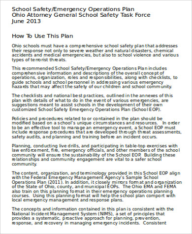 school safety action plan word