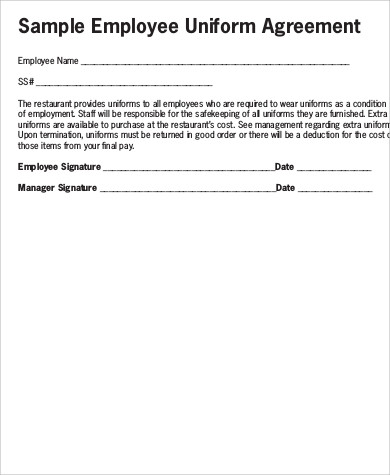 Sample Employee Uniform Form   Examples In Word Pdf