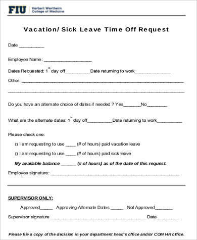 request for sick leave time off form pdf