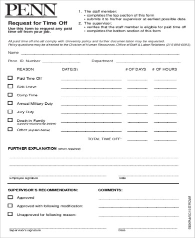 request for time off form sample
