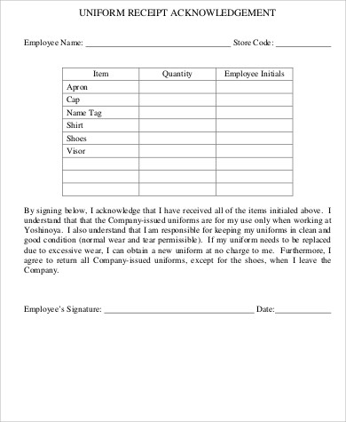 9+ Sample Employee Uniform Forms - Word, PDF