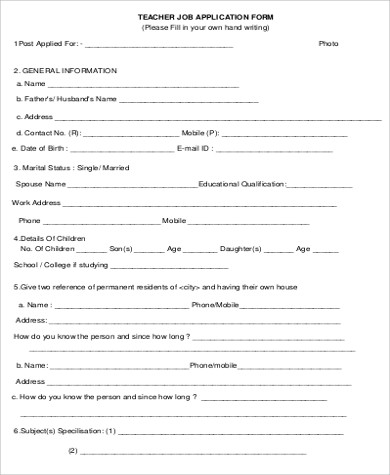 Exceptional Standard Teacher Job Application Form In PDF