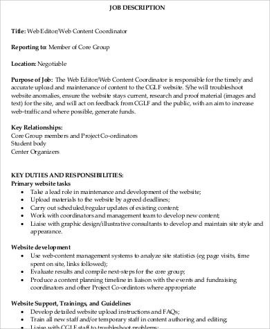 Web Editor Job Description Sample   Examples In Word Pdf