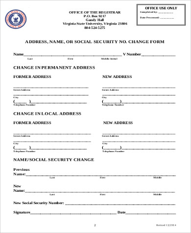 Social Security Change Of Address Form   Examples In Word Pdf