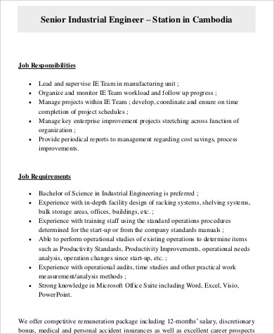 Industrial Engineer Job Description Sample   Examples In Word Pdf