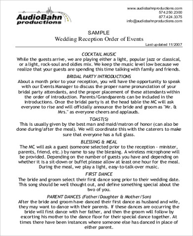sample wedding reception order of events