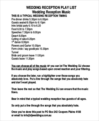 typical weeding reception pdf